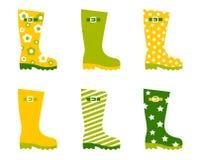весна wellington дождя ботинок установленная Стоковое Изображение RF