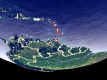 Вест-Инди на ноче от космоса стоковые изображения rf