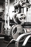 Весы в спортзале на шкафе Стоковое фото RF