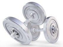 Весы гантели изолированные на белом переводе предпосылки 3D Стоковые Фото