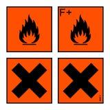 Весьма воспламеняющий и вредный комплект знака бесплатная иллюстрация