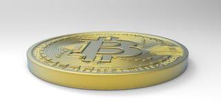 Весьма детальная и реалистическая высокая иллюстрация разрешения 3D Bitcoin Стоковые Фото