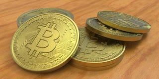Весьма детальная и реалистическая высокая иллюстрация разрешения 3D Bitcoin Стоковые Изображения RF