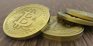 Весьма детальная и реалистическая высокая иллюстрация разрешения 3D Bitcoin Стоковое Изображение