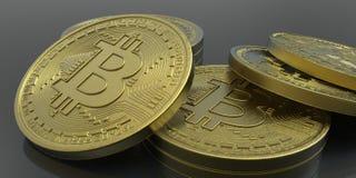 Весьма детальная и реалистическая высокая иллюстрация разрешения 3D Bitcoin Стоковые Изображения