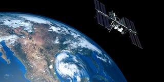 Весьма детальная и реалистическая высокая иллюстрация разрешения 3D урагана причаливая США Снятый от космоса Стоковые Изображения