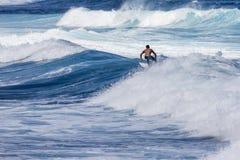 Весьма серфер ехать гигантская океанская волна в Гаваи Стоковая Фотография