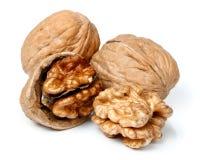 Весь грецкий орех и половинная часть грецкого ореха Стоковое Изображение