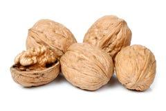 Весь грецкий орех и половинная часть грецкого ореха Стоковая Фотография RF