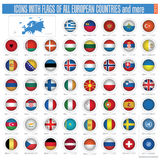 весь евроец стран flags иконы Стоковое Изображение RF