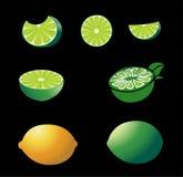 Весь лимон и куски на различных углах Стоковое Изображение