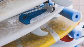 Весь конец-вверх surfboards размеров Заниматься серфингом лагерь и доски различных размеров для серфинга Стоковая Фотография RF