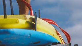 Весь конец-вверх surfboards размеров Заниматься серфингом лагерь и доски различных размеров для серфинга Стоковые Изображения RF