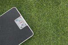 Веся масштаб на зеленой траве Стоковое фото RF