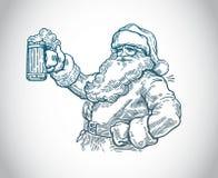 Весёлый Санта Клаус с пивом иллюстрация вектора