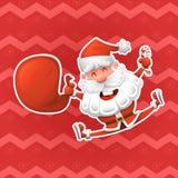 Весёлый Санта Клаус символ Нового Года Рождество стикер в стиле шаржа Иллюстрация вектора