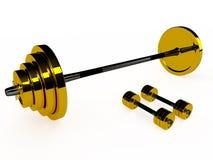 Вес золота и пары гантелей, 3D Иллюстрация штока