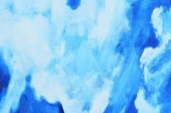 Ветви белой краски акварели на голубом холсте Стоковые Изображения