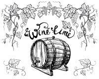 Ветви виноградины и бочонок вина изолированный на белой предпосылке иллюстрация вектора