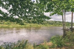 ветви дуба над рекой лета - винтажное влияние Стоковая Фотография RF