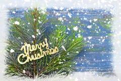 Ветви игл сосны на снежном голубом деревянном винтажном backgrou Стоковое Изображение