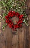 Ветви и венок рождественской елки от красных ягод Стоковые Изображения