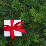 Ветви подарочной коробки и рождественской елки Стоковая Фотография