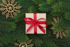 Ветви подарочной коробки и рождественской елки Стоковые Фотографии RF