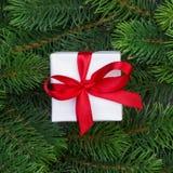 Ветви подарочной коробки и рождественской елки Стоковая Фотография RF