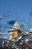 ветви покрыли вал башни snowwith дома Стоковые Изображения RF