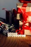 Ветви подарка рождества конуса сосны забавляются Стоковое Изображение RF