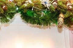 Ветви рождества елевые с украшениями конусов Стоковые Фото