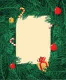 Ветви рождественской елки обрамляют искусство пиксела Ветвь предпосылки Xmas иллюстрация вектора