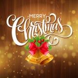 Ветви рождественской елки, красные ленты и колоколы дальше Стоковые Фотографии RF