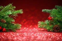Ветви рождественской елки на блестящем красном цвете Стоковое фото RF