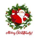 Ветви Санта Клауса и ели, вектор рождества бесплатная иллюстрация