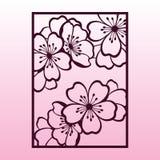Ветвь вишни или цветений Сакуры Шаблон вырезывания лазера Стоковое Изображение