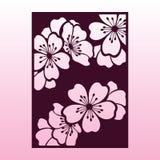 Ветвь вишни или цветений Сакуры Шаблон вырезывания лазера Стоковое фото RF