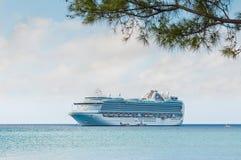 Ветвь дерева на тропическом пляже с туристическим судном в bac Стоковая Фотография