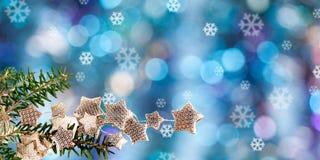 Ветвь ели и запачканные света рождества Стоковые Фотографии RF