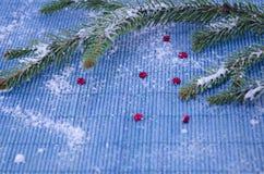 Ветвь ели и красные звезды покрытые с снегом Стоковое фото RF