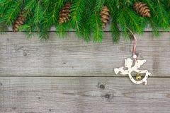 Ветвь ели с ангелом Стоковые Фото