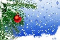 Ветвь ели с шариком на голубой предпосылке с снежинками Стоковые Изображения RF