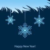 Ветвь и снежинки снега Стоковое Изображение RF