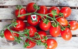 Ветвь красных зрелых томатов вишни и ярлыка сердца Стоковые Фотографии RF
