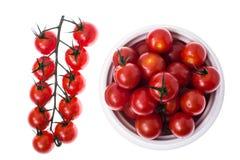 Ветвь красных зрелых томатов вишни с водой падает Стоковое Фото