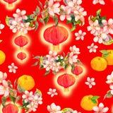 Ветвь плодоовощ апельсина мандарина, красного бумажного фонарика Новый Год китайца карточки акварель Стоковое фото RF
