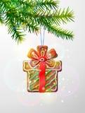 Ветвь рождественской елки с декоративным печеньем Стоковое фото RF
