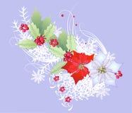Ветвь рождества с снежинками и ягодой Стоковые Изображения RF
