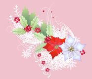 Ветвь рождества с снежинками иллюстрация штока